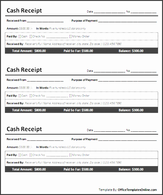 printable cash receipt for ms word