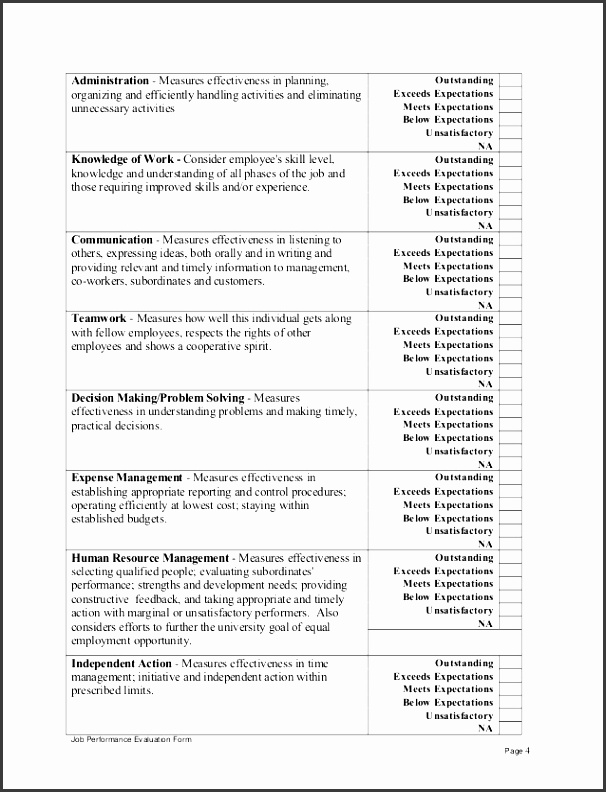 job performance evaluation form page 3 4