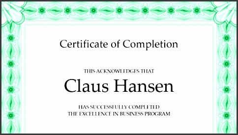 certificate of pletion green