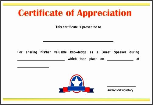 certificate of appreciation for guest speaker in seminar sample