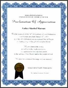 such as a student a member of staff or a volunteer who has performed well beyond your expectations a certificate of appreciation