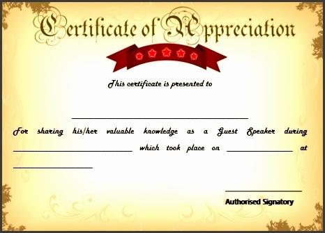 sample certification of appreciation for guest speaker 9