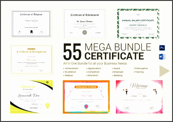 certificate bundle easy to edit in word photoshop