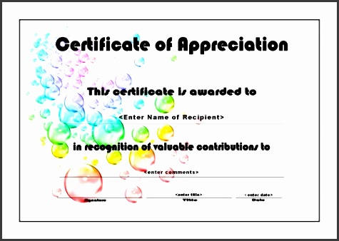 certificates of appreciation 006 a4 landscape bubbles
