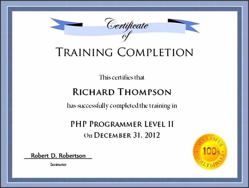 training pletion certificate templates doc certificate of pletion of training template templates
