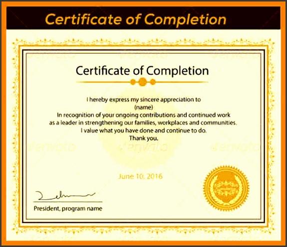 certificate of pletion sample certificate of pletion template printable