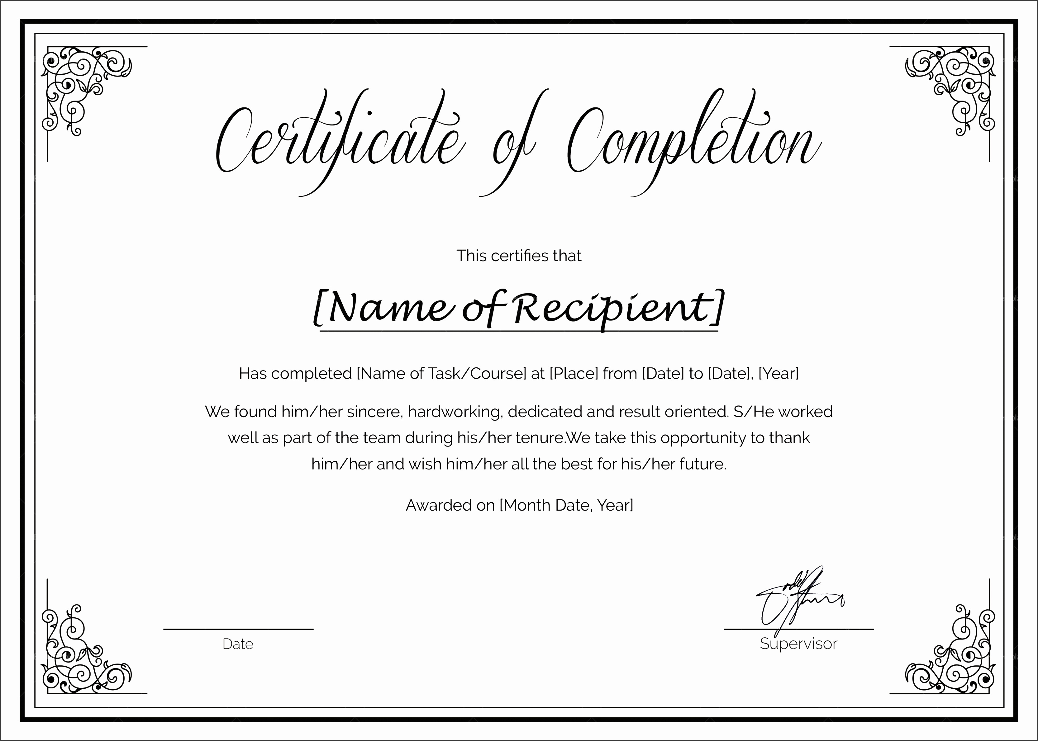 custom made course pletion certificate
