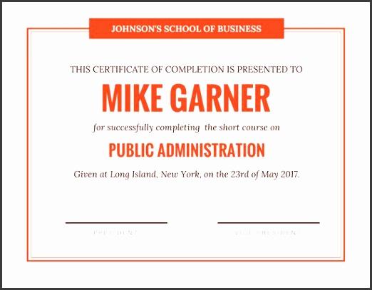 simple orange certificate of pletion