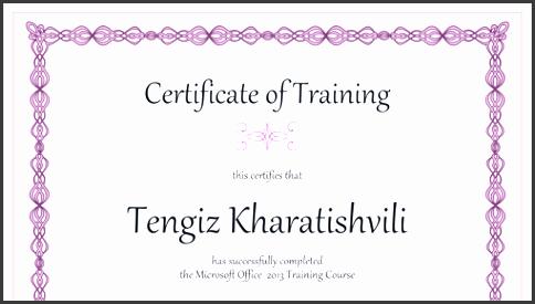 certificate of training purple chain design