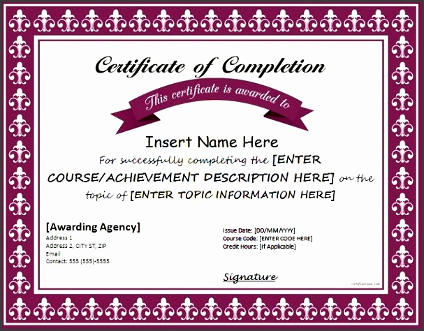 certificates of pletion templates for ms word
