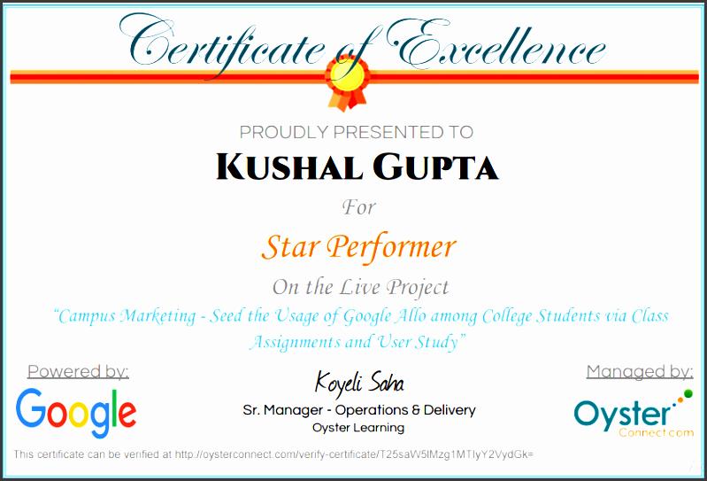 sample certificate coe star performer