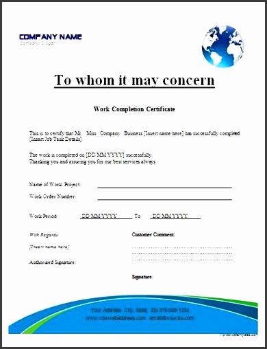 work pletion certificate