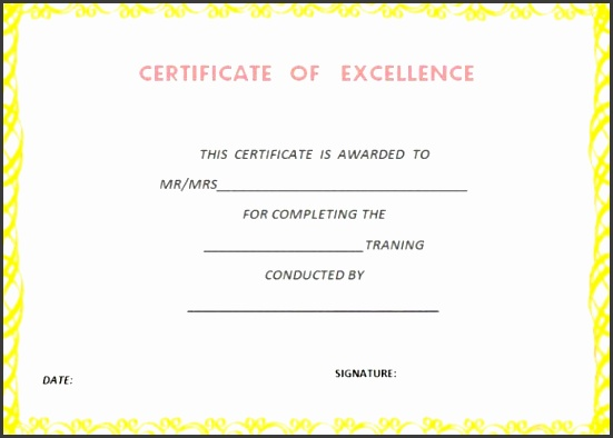 certificate of training pletion template