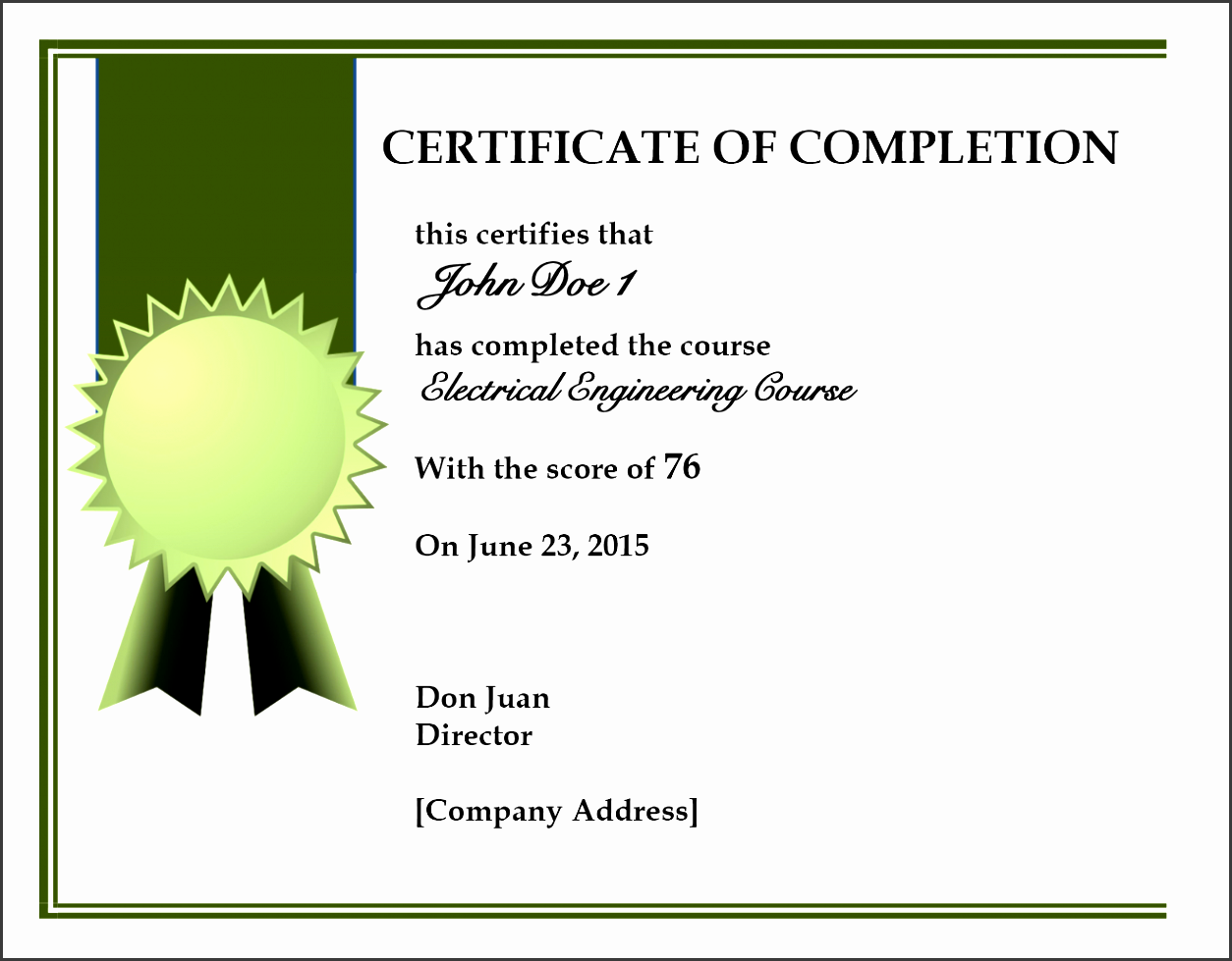 certificate of pletion template