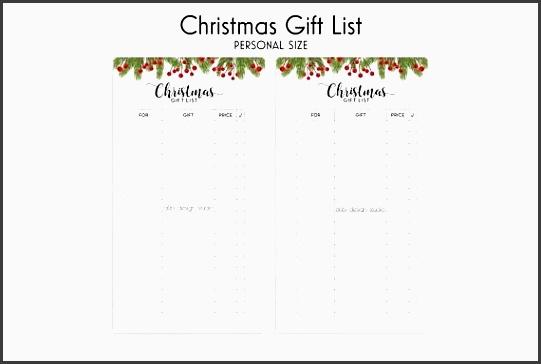 christmas t list personal planner inserts t list regarding christmas t organizer template