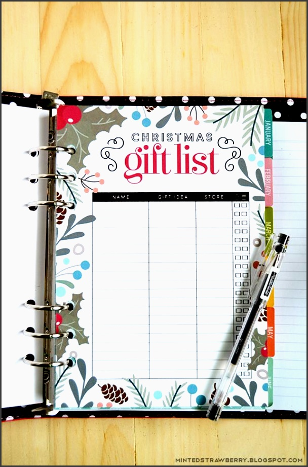 free printable christmas t list insert for a5 planners letter size