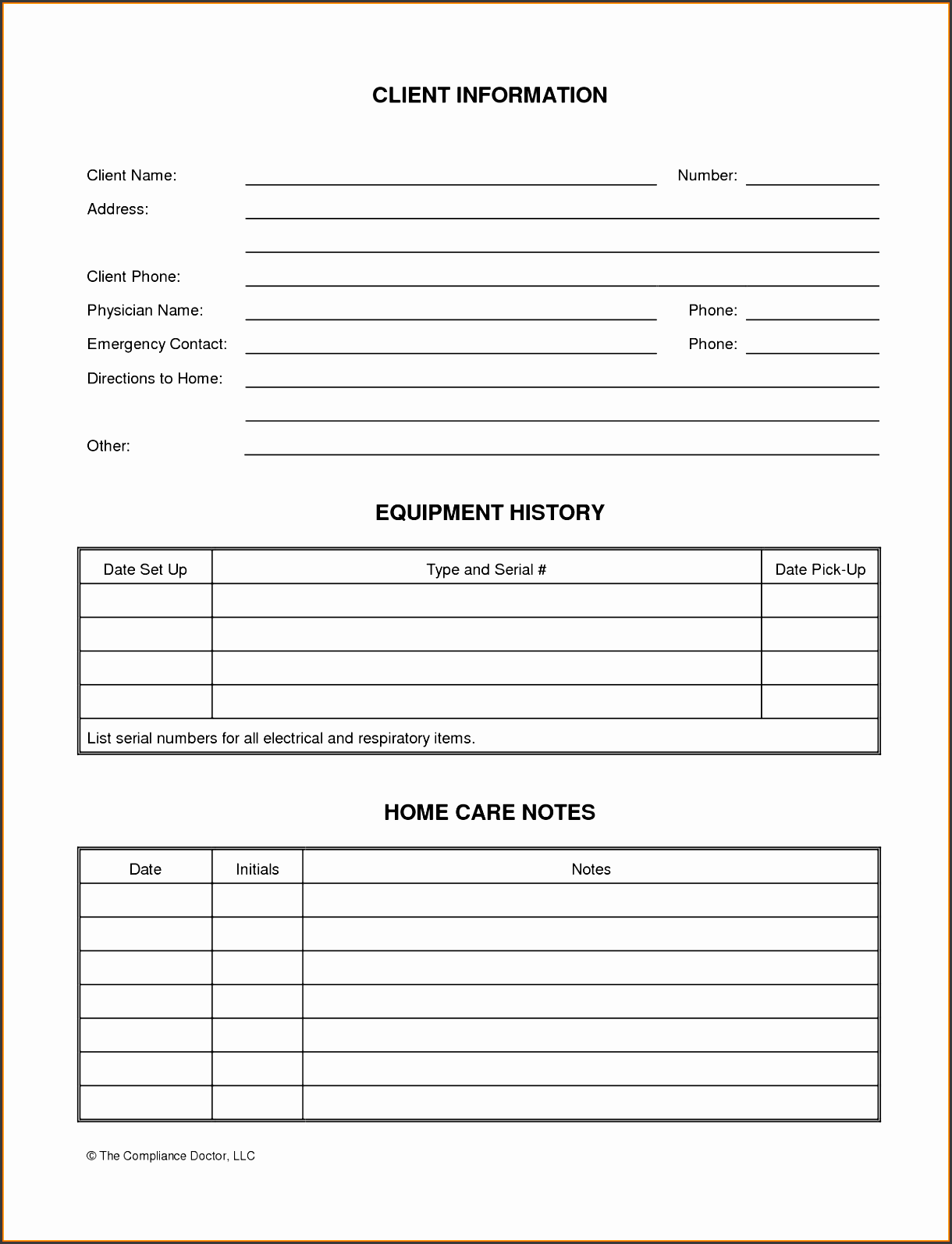 client information form tracking detailed information for each client for consulting reasons