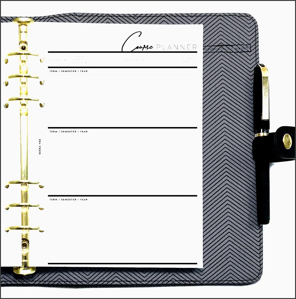 college student starter set planner inserts a5 minimalist