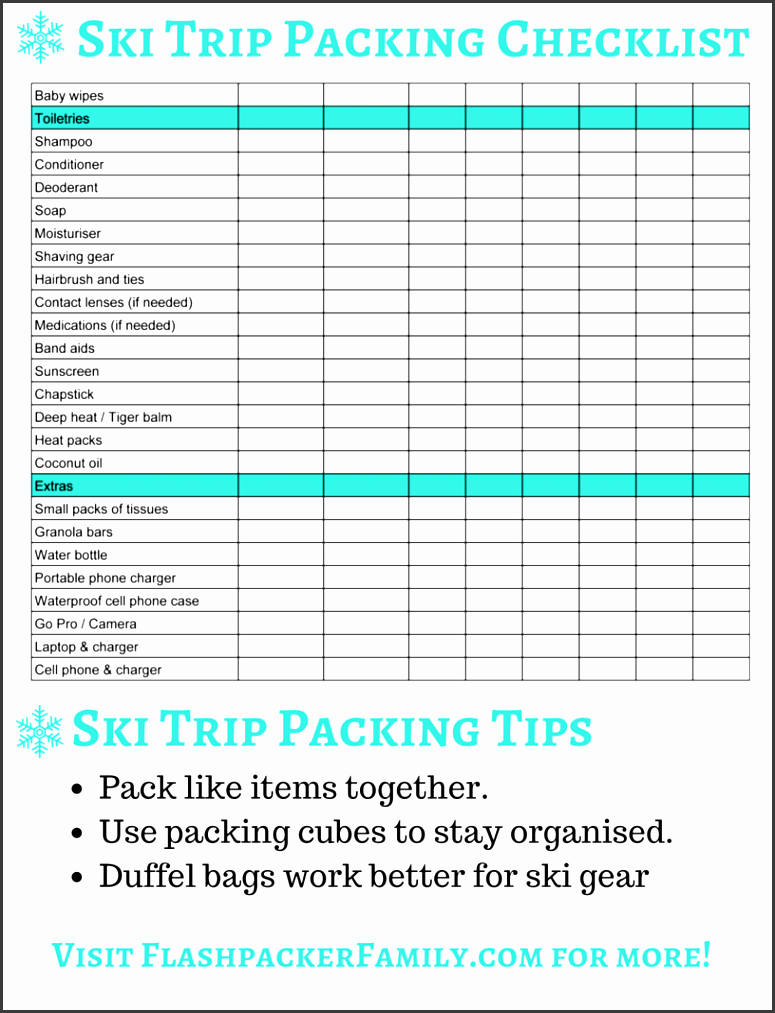 ski trip packing list page 2