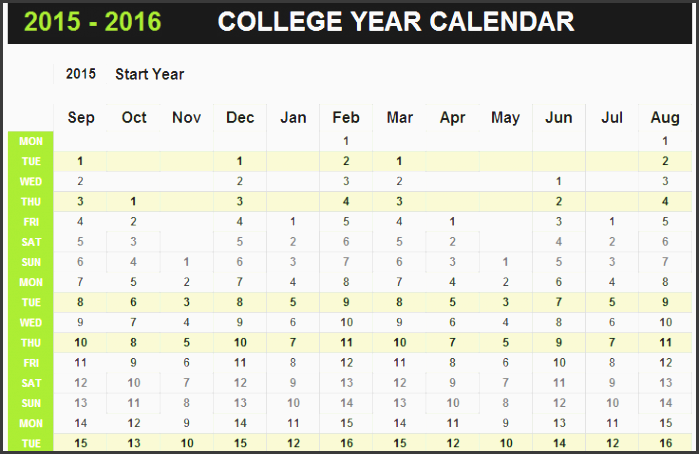 college yearly appointment calendar