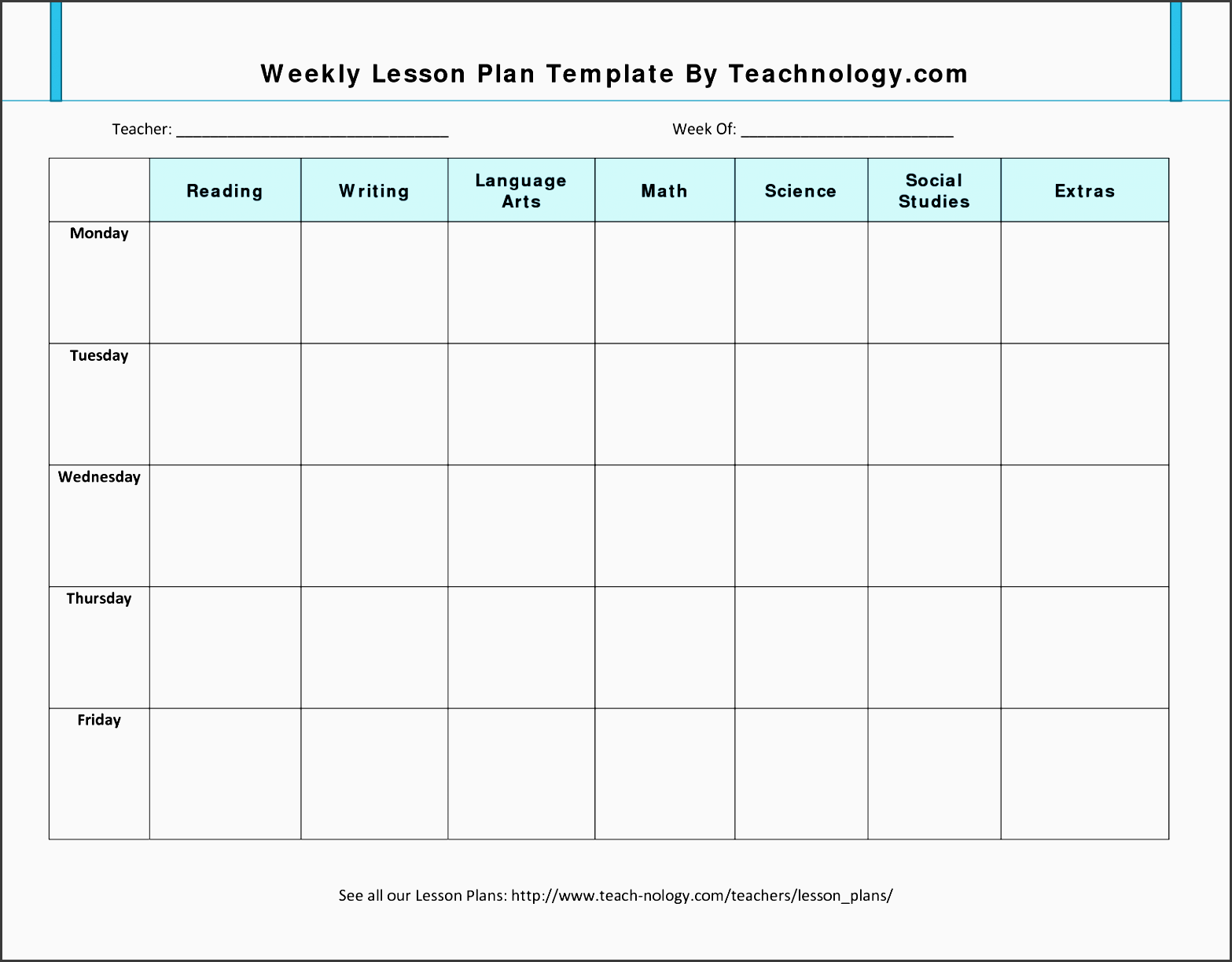 lesson plan format 7 weekly lesson plan template for teachers jsgts5gk