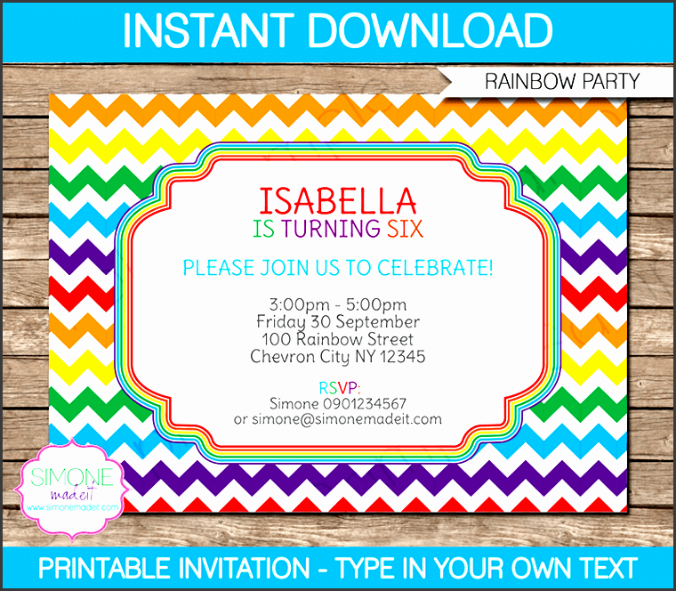 rainbow party invitations colorful chevron birthday party editable diy theme template instant