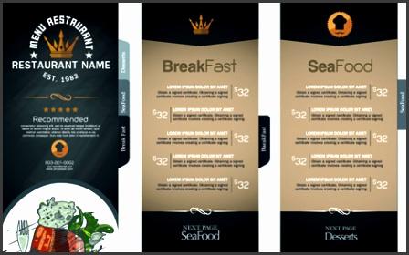 restaurant menu price list creative vector