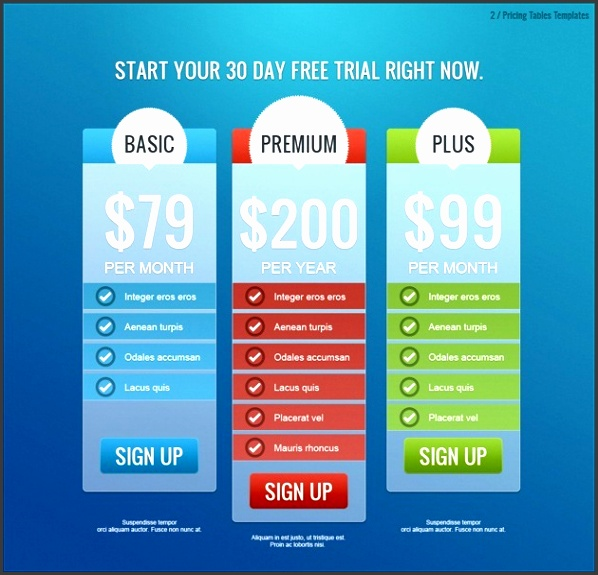 Elegant Pricing Tables Price List Design Expinanklinfire 630599 Regard To Price List Design Template