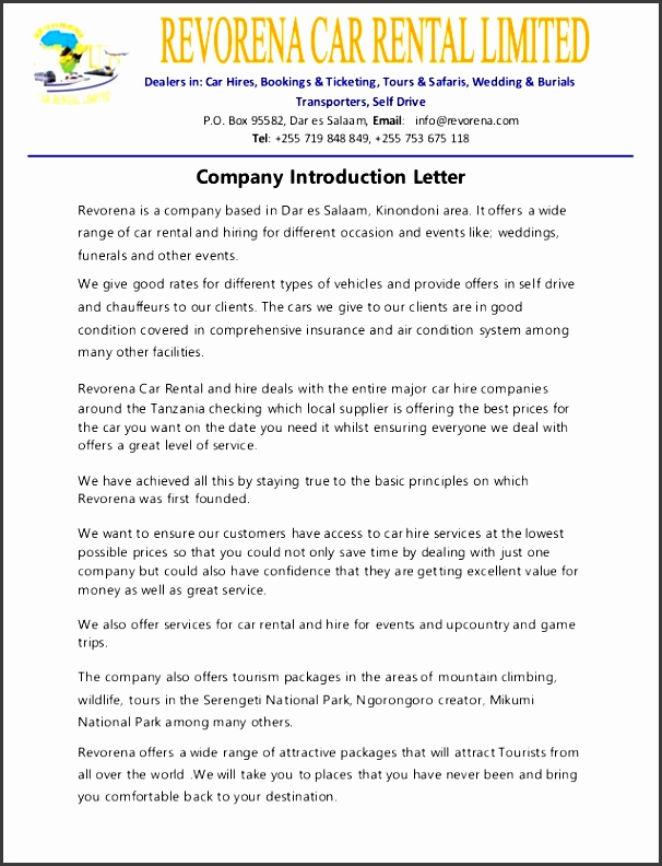 pany introduction letter revorena is a pany based in dar es salaam kinondoni area