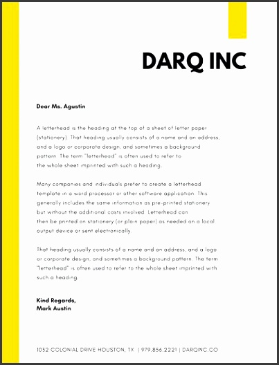 yellow simple pany letterhead