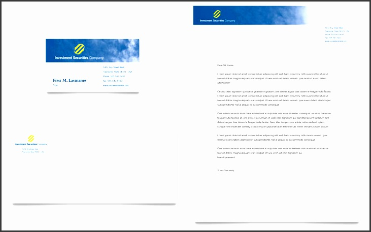 investment securities pany business card letterhead template word publisher