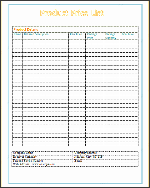 product price list template basic design