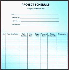 simple blank project schedule template with large table layout a part of under business templates