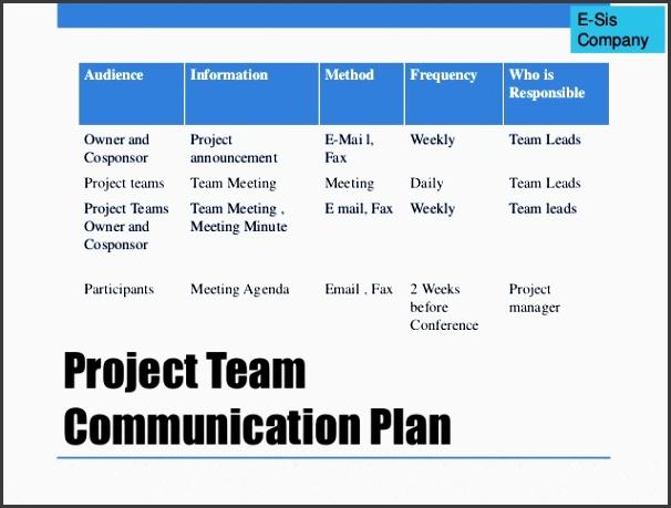 30 e sis pany project team munication plan au nce