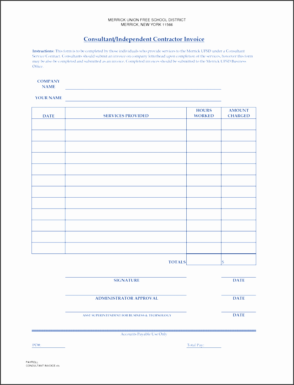 contract labor invoice template free contractor employee format