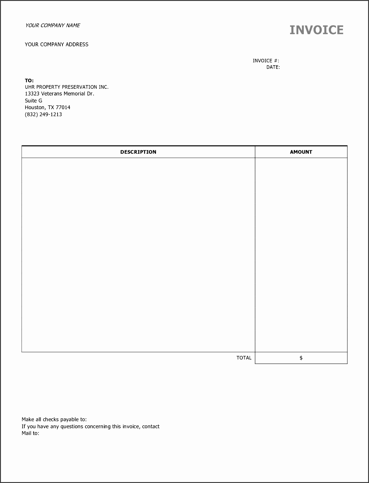 9 best images of free construction invoice template blank blank contractor invoice
