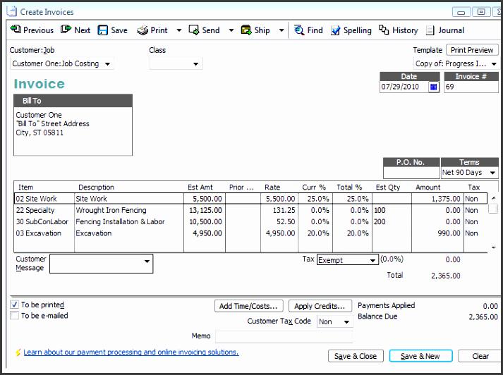 progress invoice created from estimate