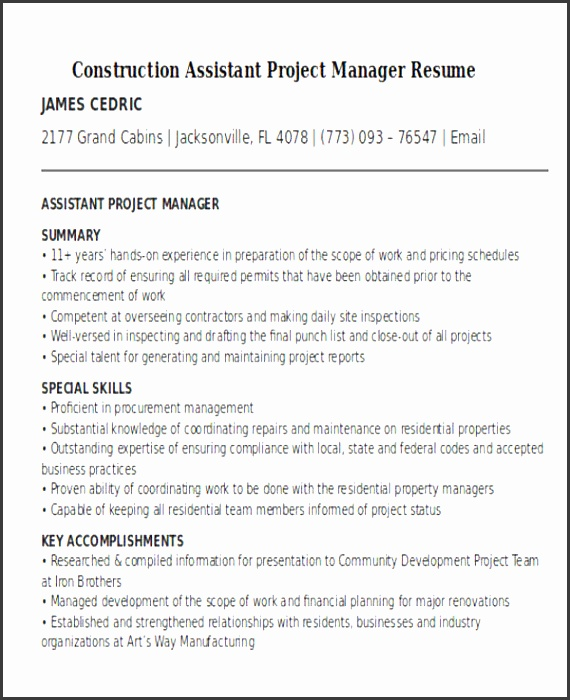 construction assistant project manager