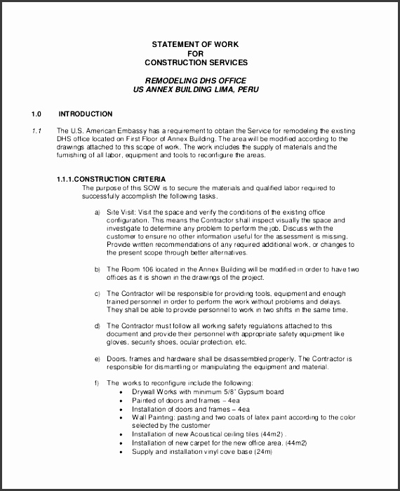statement of work for construction service