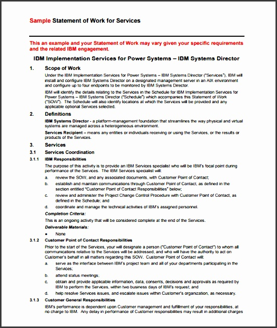 free statement of work template