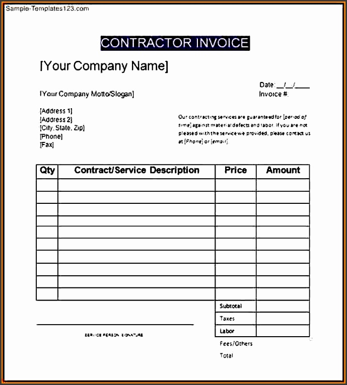 sample of contractor invoicemple general contractor invoice template