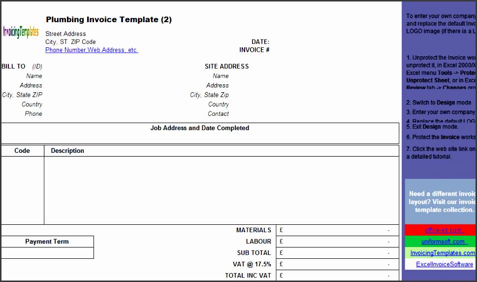 plumbing contractor invoice template landscape freeware edition