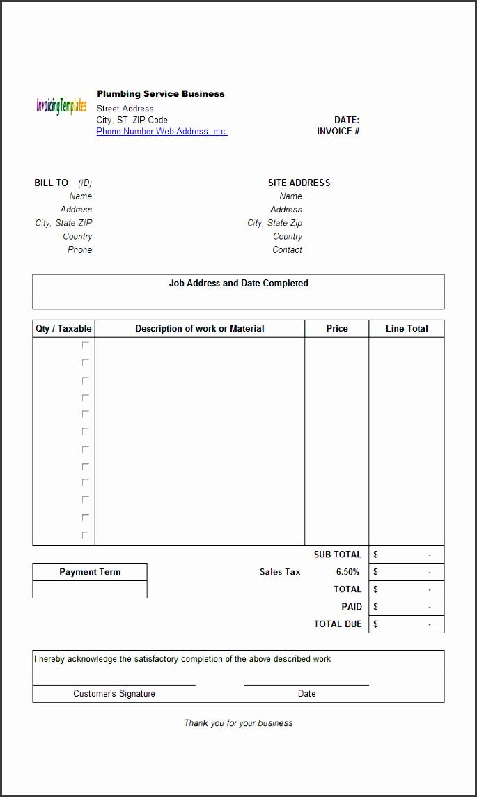 plumbingserviceinvoicetemplate printed