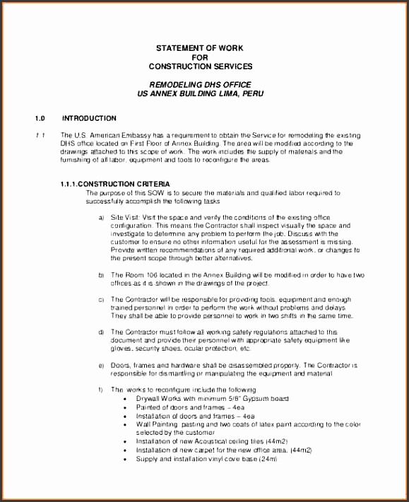 5 contractor statement of work template
