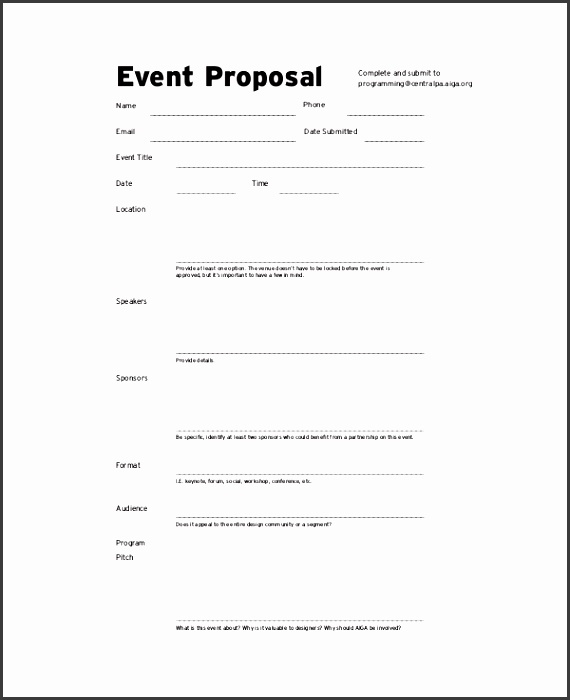 event bud proposal example