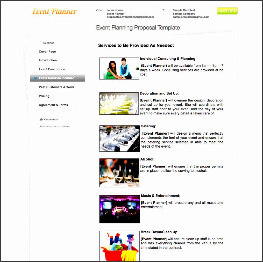 event planner sample proposal