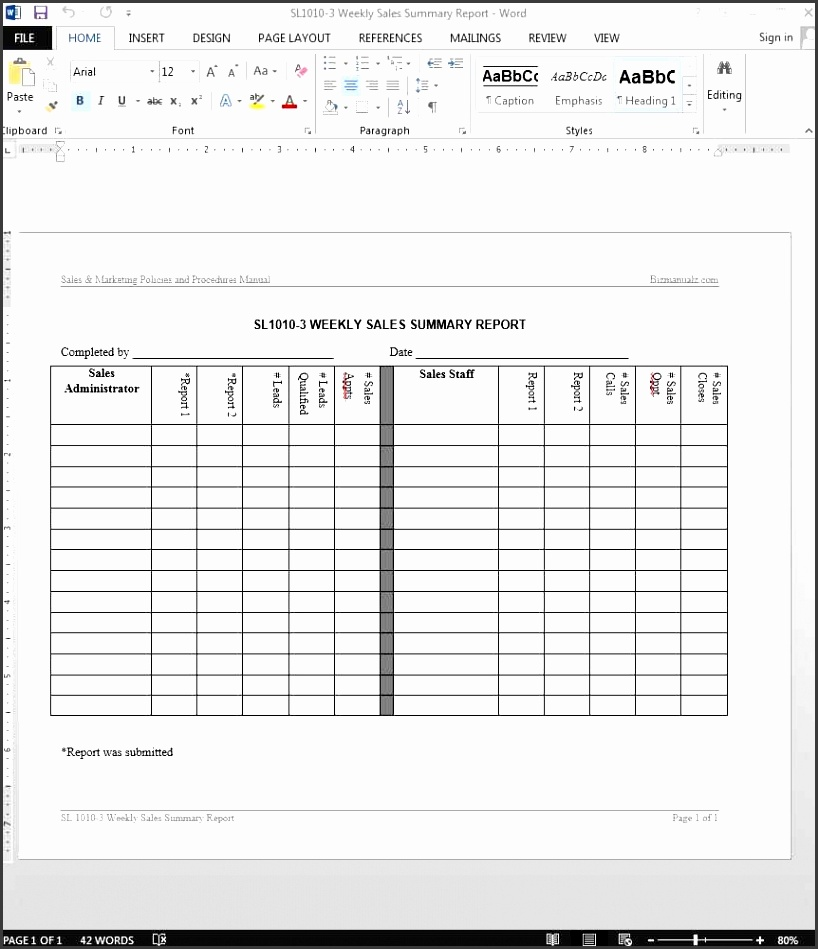 sales summary report template throughout sales and marketing report template
