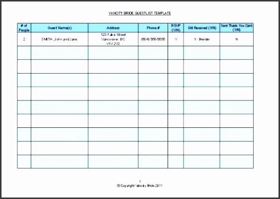 able guest list templates and formats