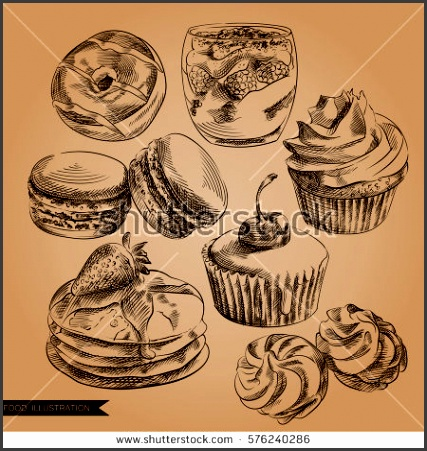 set of hand drawn desserts in vintage style donut cupcake pancakes marshmallow