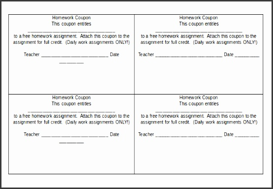homework coupon template in word document